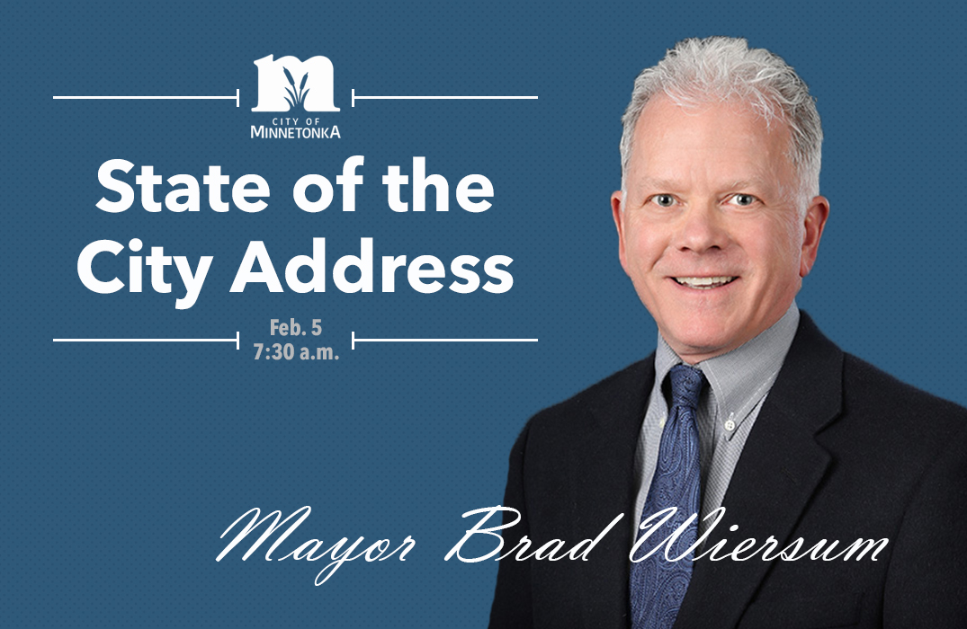 State of the City 2020 advertisement with photo of mayor and event details