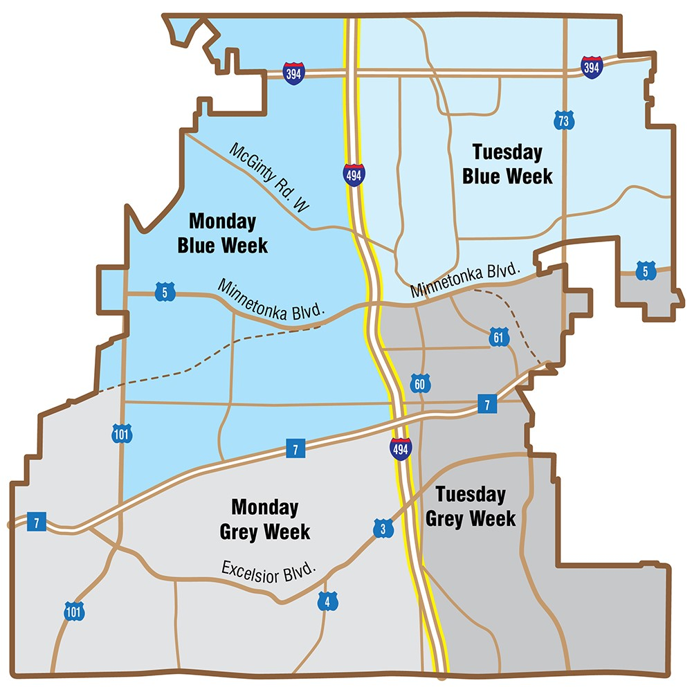 Map of recycling zones: Monday Blue Week: north border to MN-7 and west border to I-494. Monday Grey Week: MN-7 to south border and west border to I-494. Tuesday Blue Week: north border to Highway 5 and I-494 to east border. Tuesday Gray Week: Highway 5 to south border and I-494 to east border